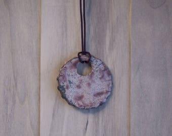 Ceramic raku tone purple round enamel pendant