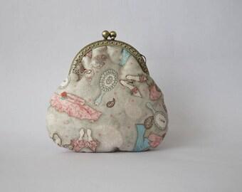 Retro cotton print wallet accessories women, pastel colors