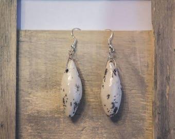 Ceramic raku pottery white shape drop enamel earrings