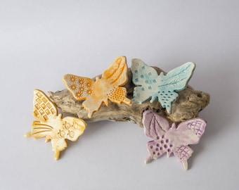 4 butterflies ceramic glue stud to decorate flower pots, orange, yellow, purple turquoise