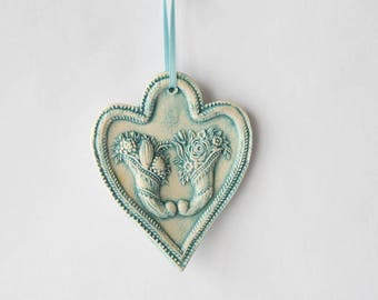 Ceramic heart, Horn of plenty embossed turquoise blue enamel