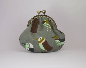 Wallet khaki cotton birds naive, retro