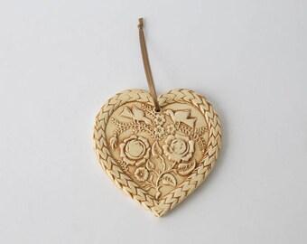 Ceramic, glossy brown glaze, roses, storks print heart