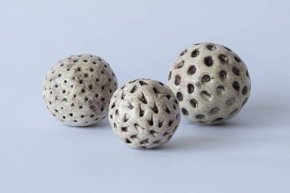 3 Decorative Balls Ceramic Burgundy Effect Prints Etsy