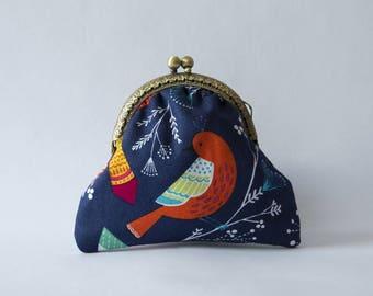 "Retro purse cotton birds on blue ""By Michael Miller"""