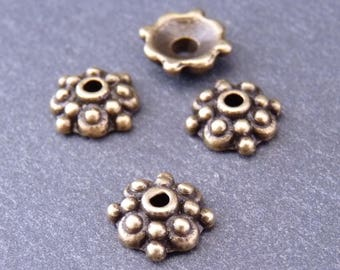 30 bead caps 8 mm - bronze-colored flowers (Ref: CP0202)