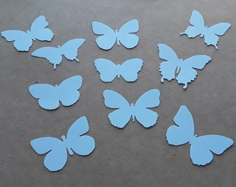 cut-out butterflies in pastel blue paper, set of 10, wedding decor, birthday, baptism...