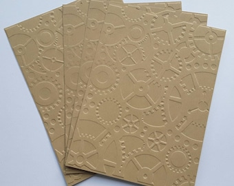 Set of 4 cards simple embossed COGS, gears, steampunk, wheels toothed paper kraft 14.5 x 10.5 cm
