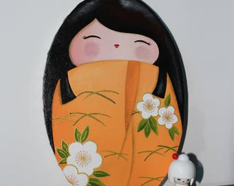Acrylic painting on oval canvas theme kokeshi: sweet Akane