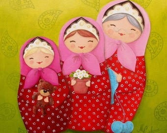 Acrylic painting on canvas: mother daughter (Russian dolls)