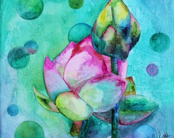 Gift for mother's day - watercolor on canvas: Lotus