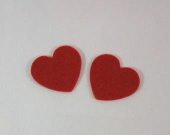 Embellishments/applique/subjects felt red hearts