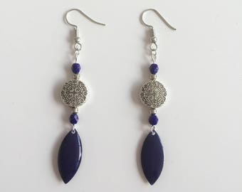 Navy Blue and silver dangling earrings