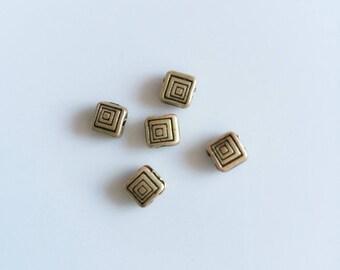 set of 5 square beads bronze