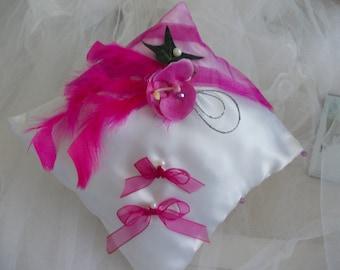 wedding fuchsia Orchid on fuchsia white wedding satin ring bearer pillow