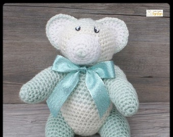 Teddy bear green Heather and white crochet