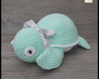 Sea green and white crochet turtle toy