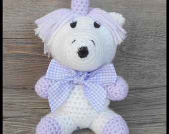 Purple and white Unicorn crochet toy