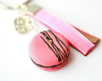 Keychain - realistic pink macaroon decorated with gold foil and chocolate sauce