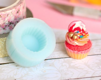 Soft silicone mould Base with realistic cupcake diameter 1.7 cm for gourmet creations in polymer paste or cold porcelain