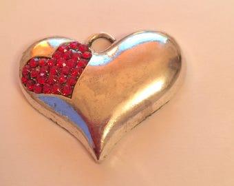 heart pendant + rhinestones Red
