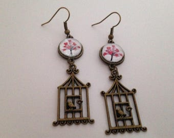 love tree and bird cage earrings