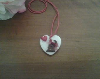 heart pendant for girl with cat