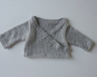 Hand knitted top baby wool (cache-heart)