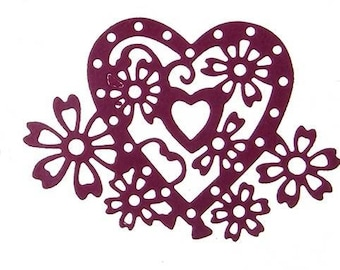 Cut out hearts with outline flowers scrapbooking