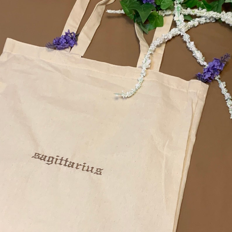 Zodiac Star Sign Sagittarius Gothic Type Font embroidered Organic Tote