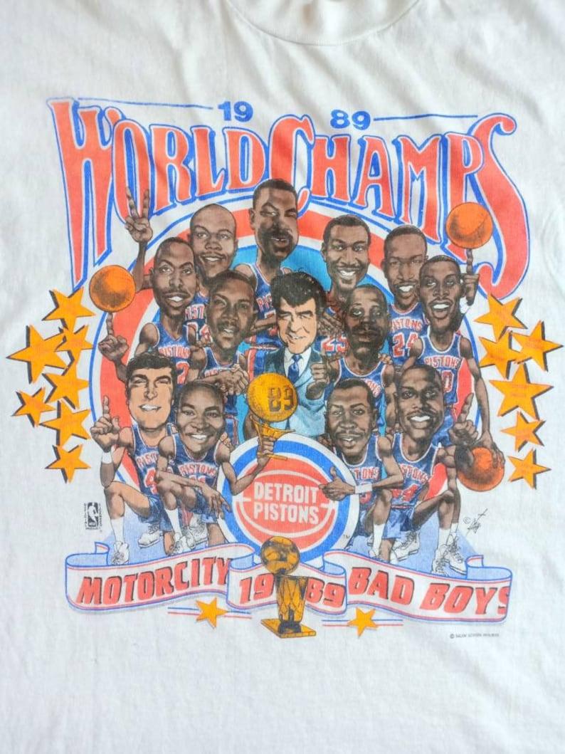 Vintage Detroit Piston caricature world champs 80/'s t shirt salem sportswear