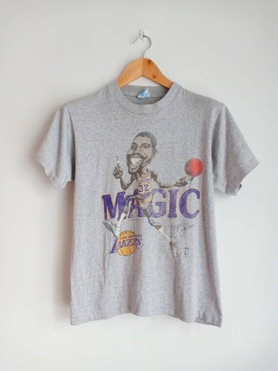 Vintage Magic Johnson caricature 80's t shirt sale