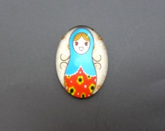 Glass cabochon illustrated 25x18mm oval dome matryoshka ref.04
