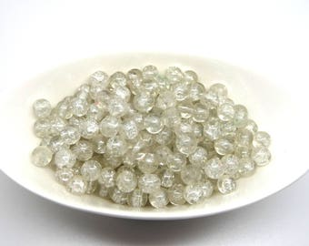 10 white Crackle glass beads clear 6mm