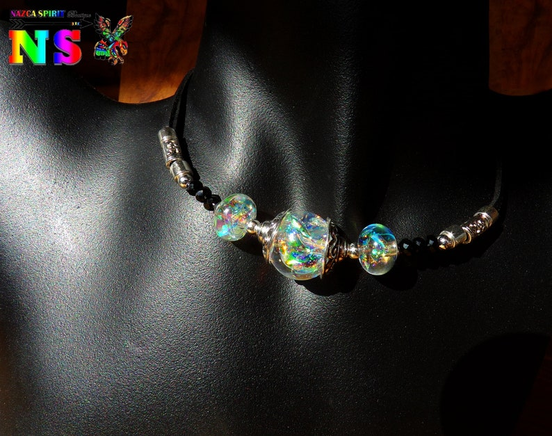 Boho Chic adjustable necklace  handmade resin beads  Ultra iridescent beads  Imitation Australian opals  unique