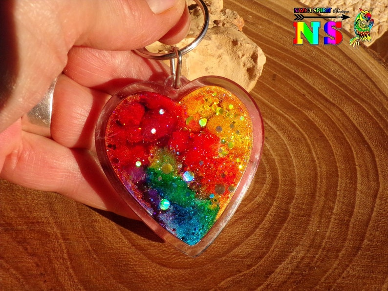 Multicolored Heart Iridescent Hograph Craft Creation Unique Christmas Gift Key holder Heart Plexiglass Craft Coloring