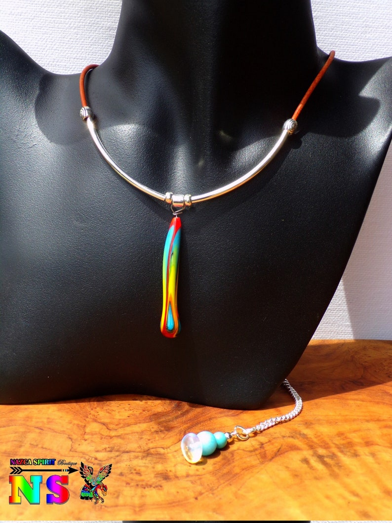 Pearl multicolored lampwork borosilicate pendant French craft creation Natural leather and silver adjustable boho necklace 925