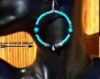Dangle hoop earrings / Indian / Tanzanite AB Swarovski Crystal drop / coconut Turquoise / Silver Plated rings