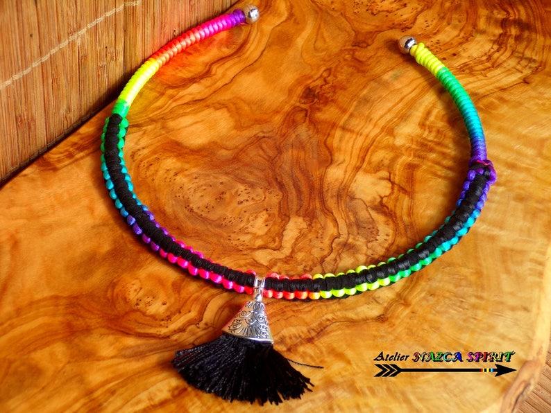 Necklace silver plated spirit Peru boho ethnic weaving macrame multicolor Rainbow pendant Pompom black