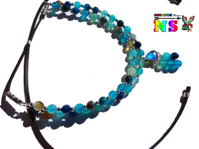 Stones agates faceted tinted Adjustable ethnic necklace in dragon vein agates beads Pearls turquoise green and Prussian blue