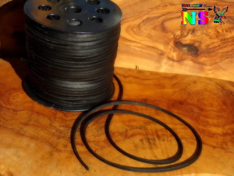 - Black Ebony Color Su\u00e9dine Leather Effect Lace 0.11 Daim Lace for Jewelry Creation Large 3 mm lacet