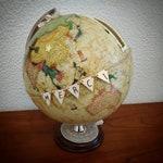 Globe Earth urn custom piggy bank for a wedding themed travel: the vintage terrestrial globe