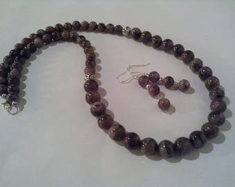 Sugilite earrings sugilite necklace, 925 sterling silver, natural gemstones, sugilite, mauve set jewelry