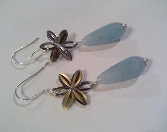 angelite earrings, 925 sterling silver, natural gemstones, angelite, drops, wife gift jewelry