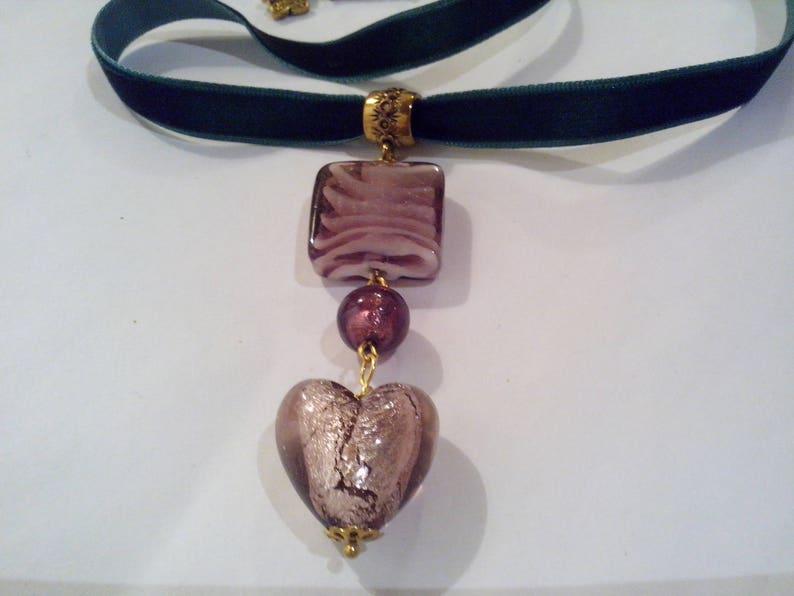 Valentine/'s Day neck collar Murano glass heart,choker velvet,Murano glass jewel,Venice glass necklace,St Valentine/'s gift