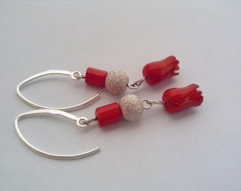 Earrings red coral and Silver 925, red coral, coral, coral and silver jewelry, gift woman, girl gift