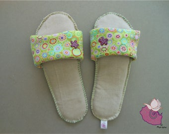 SLIPPERS FABRIC GREEN HOOP AND MULTICOLORED ROUND - 06