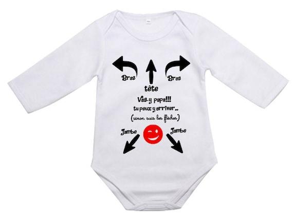Body bébé personnalisé mode emploi papa mettre un body body  24e67a10a49