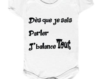 "funny baby Bodysuit, attention... ""as soon as I speak I balance all"""