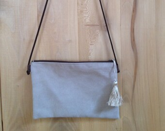 Taupe suede clutch bag